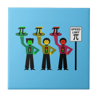 Moody Stoplight Trio Next to Speed Limit Pi Sign Ceramic Tile