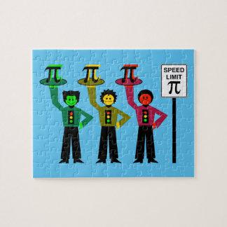 Moody Stoplight Trio Next to Speed Limit Pi Sign Jigsaw Puzzle