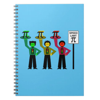 Moody Stoplight Trio Next to Speed Limit Pi Sign Notebook