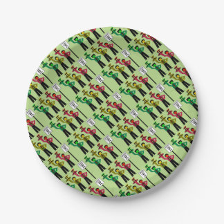 Moody Stoplight Trio Next to Speed Limit Pi Sign Paper Plate