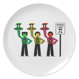 Moody Stoplight Trio Next to Speed Limit Pi Sign Plate