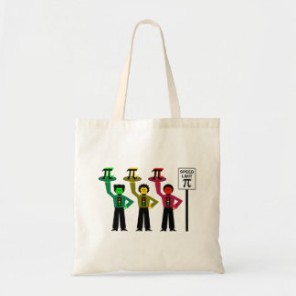 Moody Stoplight Trio Next to Speed Limit Pi Sign Tote Bag