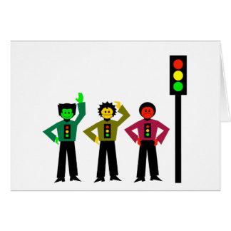 Moody Stoplight Trio Next to Stoplight Card