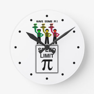 Moody Stoplight Trio On Speed Lim Pi Sign wCaption Round Clock