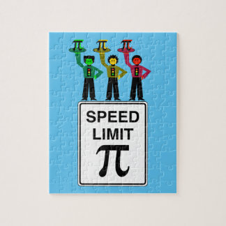 Moody Stoplight Trio On Speed Limit Pi Sign Jigsaw Puzzle