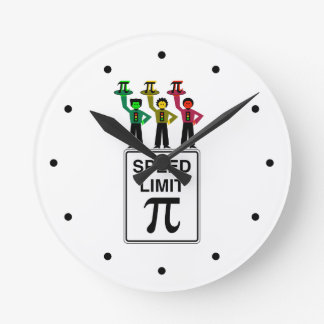 Moody Stoplight Trio On Speed Limit Pi Sign Round Clock