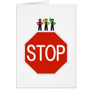 Moody Stoplight Trio On Stop Sign Card