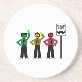 Moody Stoplight Trio Speed Limit Mustachio Coaster