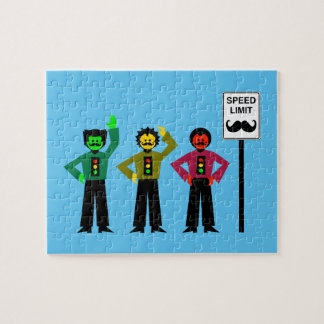 Moody Stoplight Trio Speed Limit Mustachio Jigsaw Puzzle