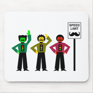 Moody Stoplight Trio Speed Limit Mustachio Mouse Pad