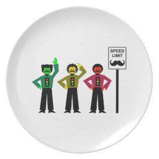 Moody Stoplight Trio Speed Limit Mustachio Plate