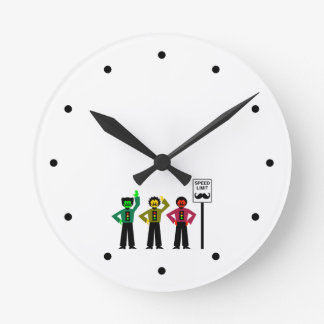 Moody Stoplight Trio Speed Limit Mustachio Round Clock