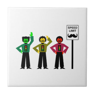 Moody Stoplight Trio Speed Limit Mustachio Tile