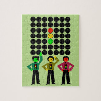 Moody Stoplight Trio w Moody Stoplight Black Dots Jigsaw Puzzle