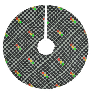 Moody Stoplight w Black Dots Brushed Polyester Tree Skirt