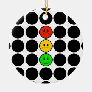Moody Stoplight w Black Dots Round Ceramic Decoration