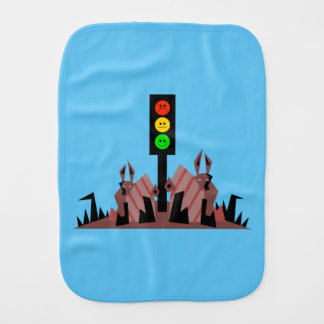 Moody Stoplight with Bunnies Burp Cloth