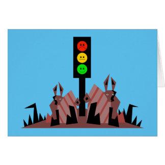 Moody Stoplight with Bunnies Card