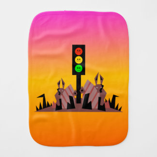 Moody Stoplight with Bunnies, Dreamy Background Burp Cloth