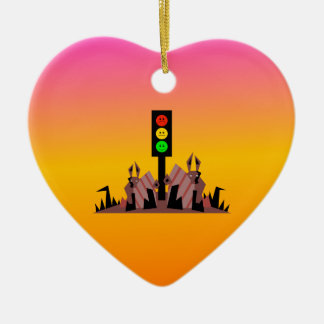 Moody Stoplight with Bunnies, Dreamy Background Ceramic Ornament