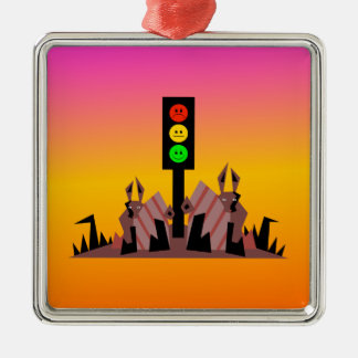 Moody Stoplight with Bunnies, Dreamy Background Metal Ornament