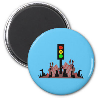 Moody Stoplight with Bunnies Magnet