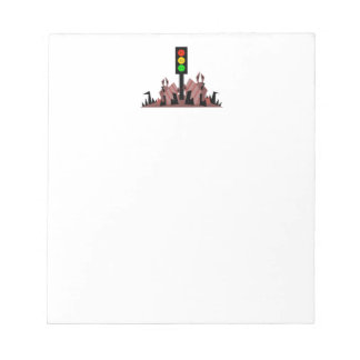 Moody Stoplight with Bunnies Notepad