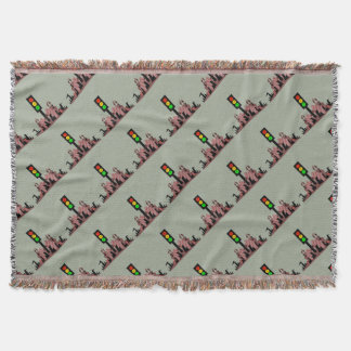 Moody Stoplight with Bunnies Throw Blanket