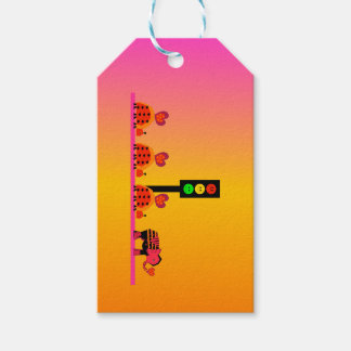 Moody Stoplight with Heart Caravan, Dreamy Backgnd Gift Tags