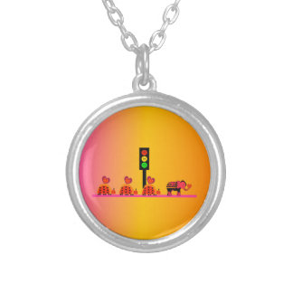Moody Stoplight with Heart Caravan, Dreamy Backgnd Silver Plated Necklace
