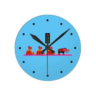 Moody Stoplight with Heart Caravan Round Clock