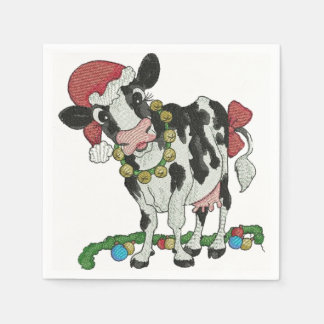 Mooey Christmas! Cow-Themed Christmas Napkins Disposable Serviettes
