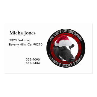 Mooey Christmas Happy Moo Year Santa Hat Cow Business Card