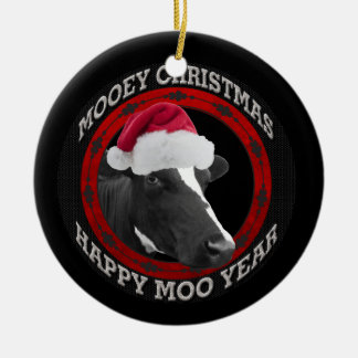 Mooey Christmas Happy Moo Year Santa Hat Cow Round Ceramic Decoration