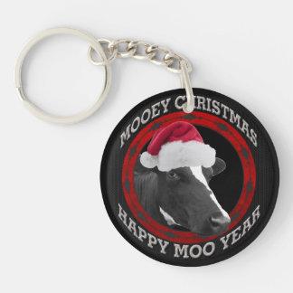 Mooey Christmas Happy Moo Year Santa Hat Cow Double-Sided Round Acrylic Keychain
