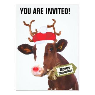 Mooey Merry Christmas Reindeer Cow 14 Cm X 19 Cm Invitation Card