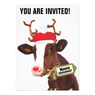 Mooey Merry Christmas Reindeer Cow Custom Invitation
