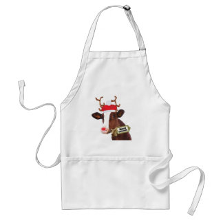 Mooey Merry Christmas Reindeer Cow Standard Apron