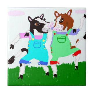 Moohug Designs With Cows Small Square Tile