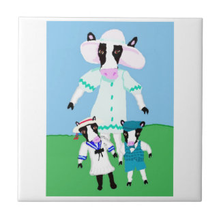 Moohug Designs With Mama Cow And Calves Small Square Tile