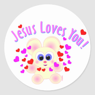Mooky: Jesus Loves You! Classic Round Sticker