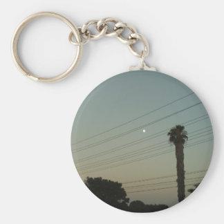 Moon And A Palm Tree by Julia Hanna Keychain