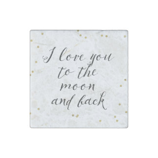 Moon and Back Gold Confetti Stone Magnet
