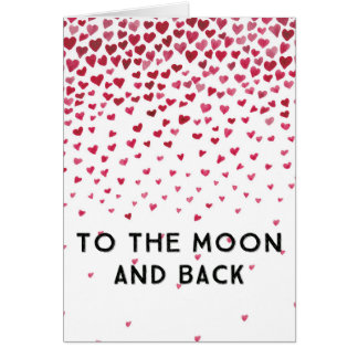 Moon and Back Hearts Card