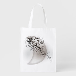 Moon and bats reusable grocery bag