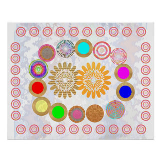 MOON and Circles :  Art for KIDs Room Poster