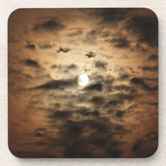 Moon and Cirrus Clouds Drink Coaster