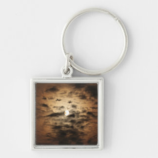 Moon and Cirrus Clouds Keychains