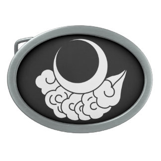 Moon and cloud oval belt buckles