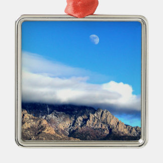 Moon and Clouds Over Sandias Metal Ornament